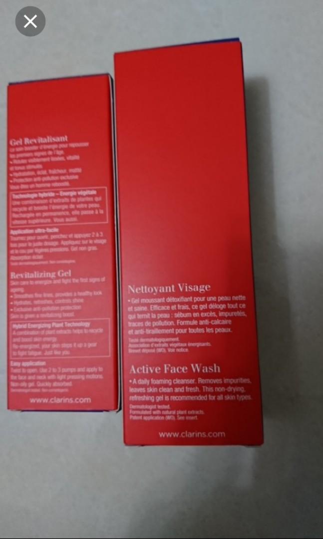 Clarins men nettoyant Visage active face wash and revitalizing gel