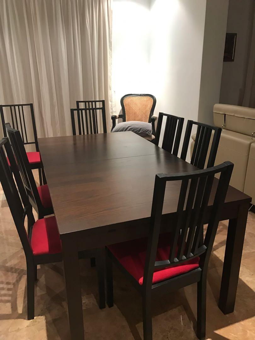 Ikea Stornas Extendable Dining Table And 8 X Chairs Furniture