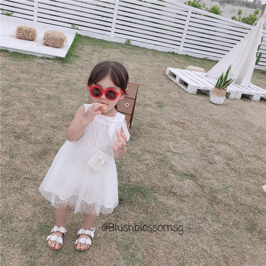 ⭐INSTOCK⭐ Princess White Ribbon-Tied Midi Mesh Dress