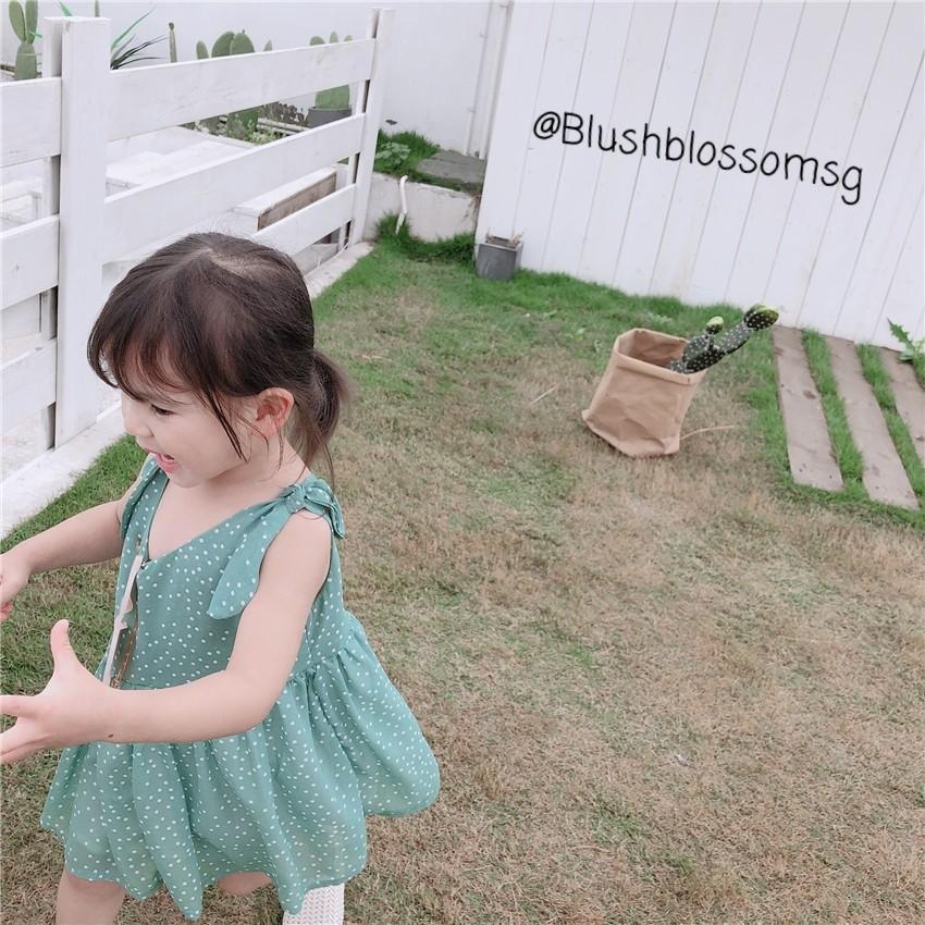 ⭐INSTOCK⭐ White Polkadots Ribbon-Tied Sleeve Chiffon Dress