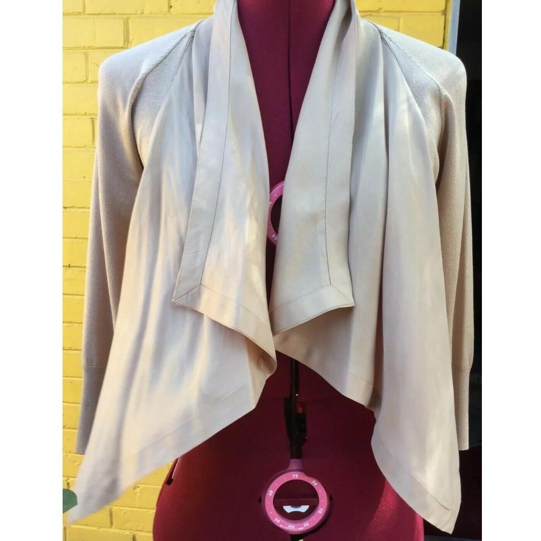 Karen Millen silk & cotton waterfall crop jacket cardigan - Sz 1 (Size 6/8)