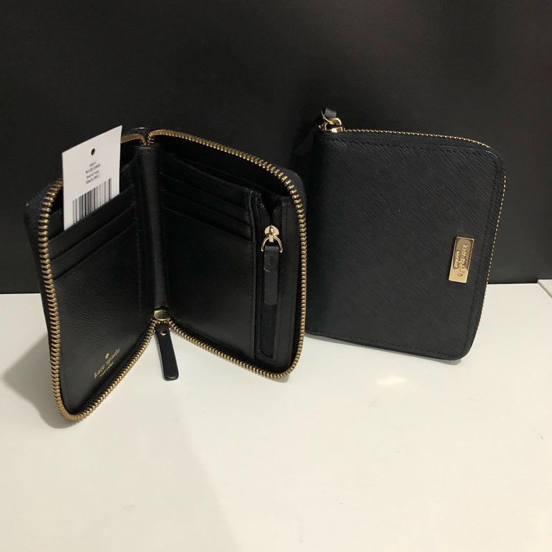 Kate Spade Darci Wallet sz 13x12 Black Saffiano Leather (ada tempat uang kertas, slots kartu dan tempat koin ❤️)