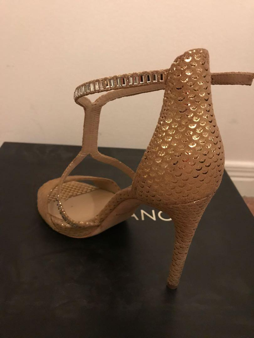 MARCIANO evening shoes in taupe multi-leather, in size 5
