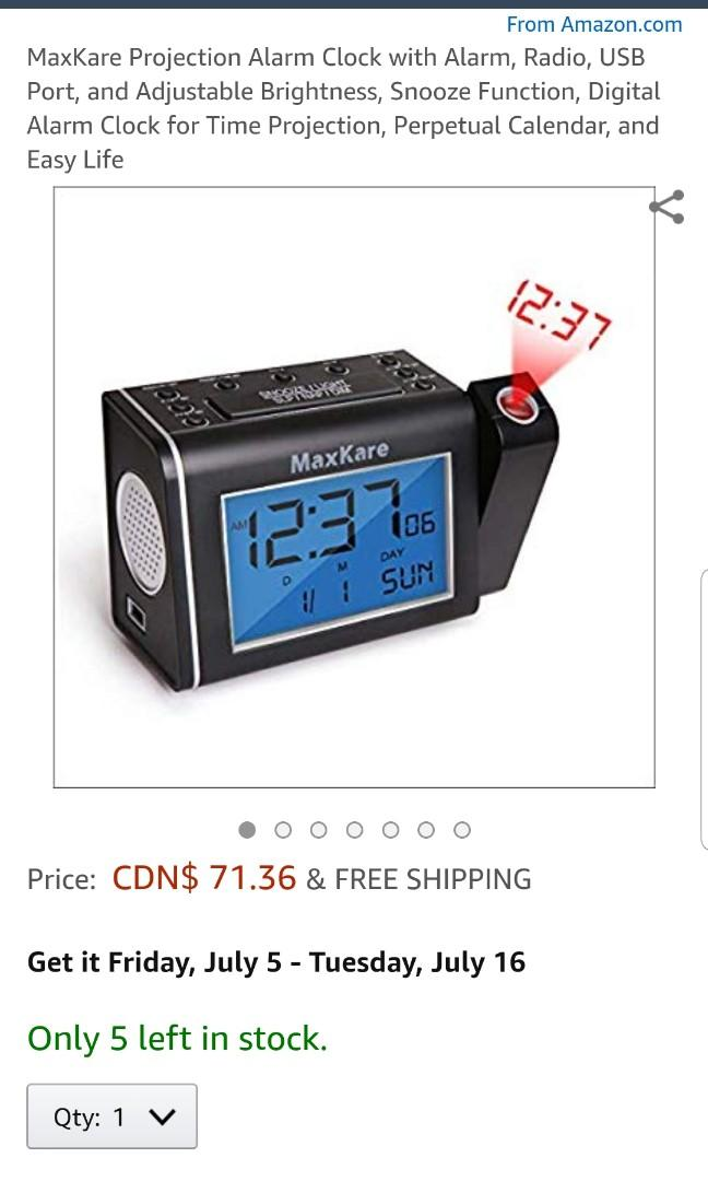 Maxkare Projection Alarm clock