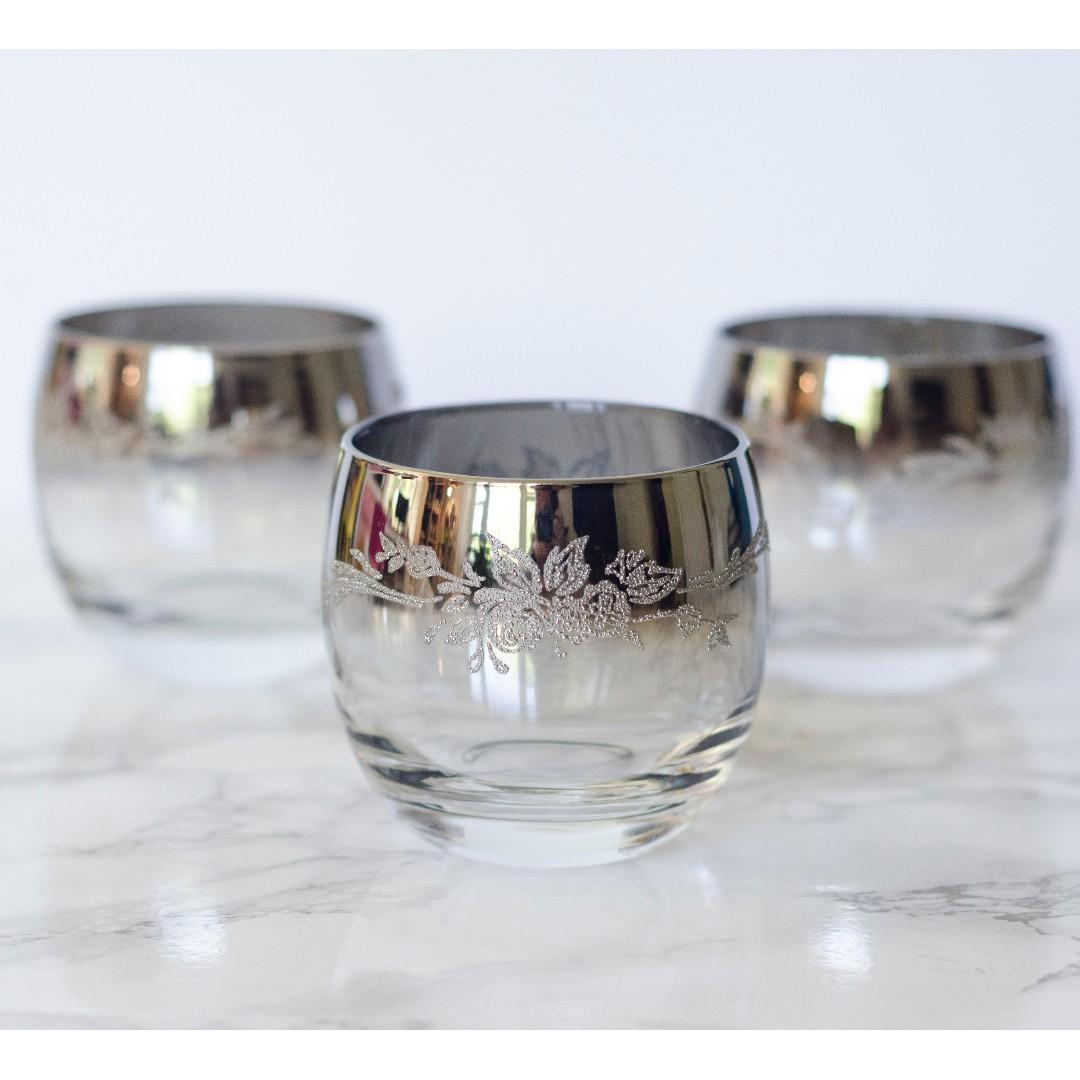 Mid century modern iconic Virton Queen Roly Poly Silver Fade floral embossed Glasses set of 3.