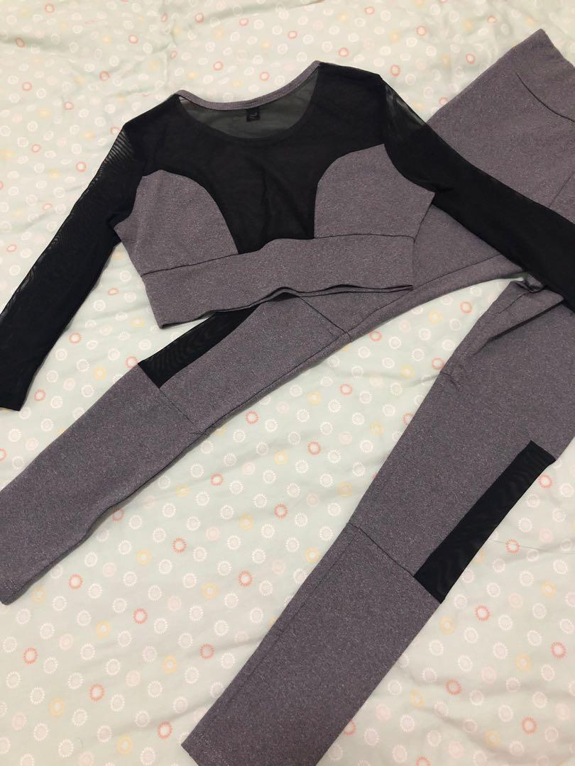 NEW sports set size xs grey black full length high waisted