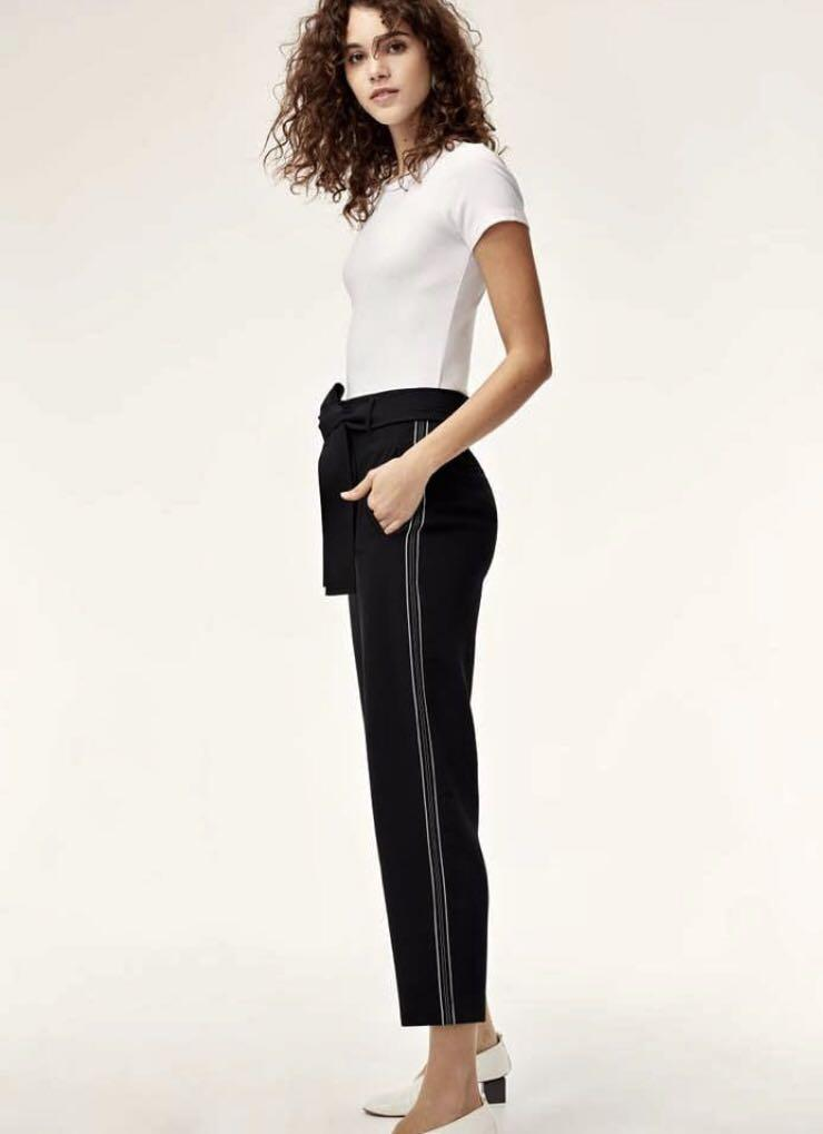 NWT Aritzia Wilfred Front Tie Jallade Pant Crepe Size 2