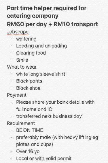 Part time helper RM60+RM10