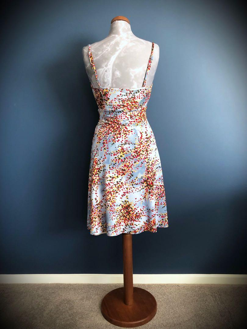 REVIEW Vintage Summer Abstract Floral Dress Size 8 to 10