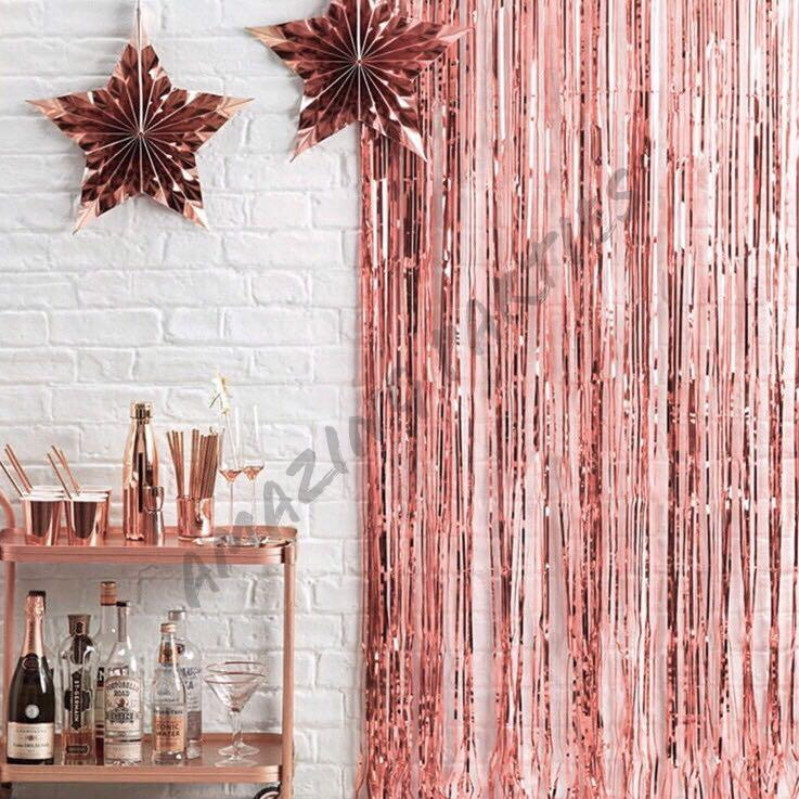 Rose Gold Tinsel Curtain Party Backdrop #MRTCCK #MRTWoodlands #MRTJurongEast