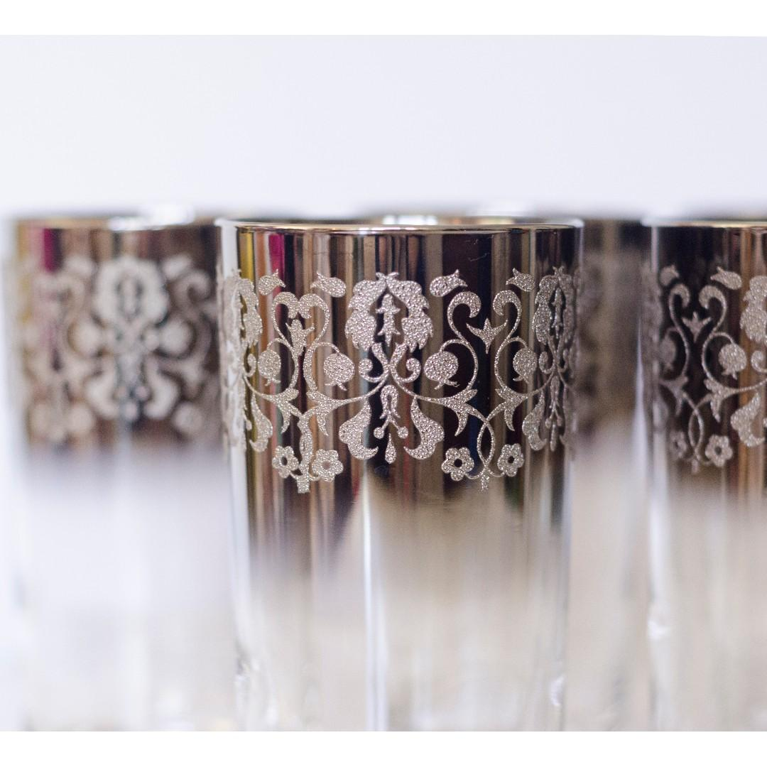 Set of 5 Vintage Silver Fade High Ball Glasses Embossed Tumblers