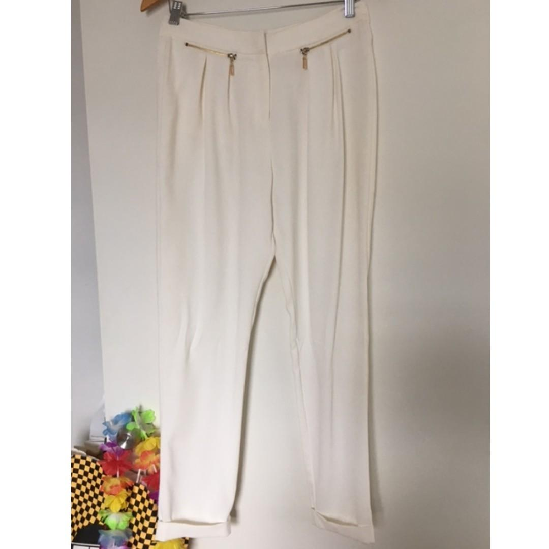 SHEIKE white cream cuffed pants - Sz 10