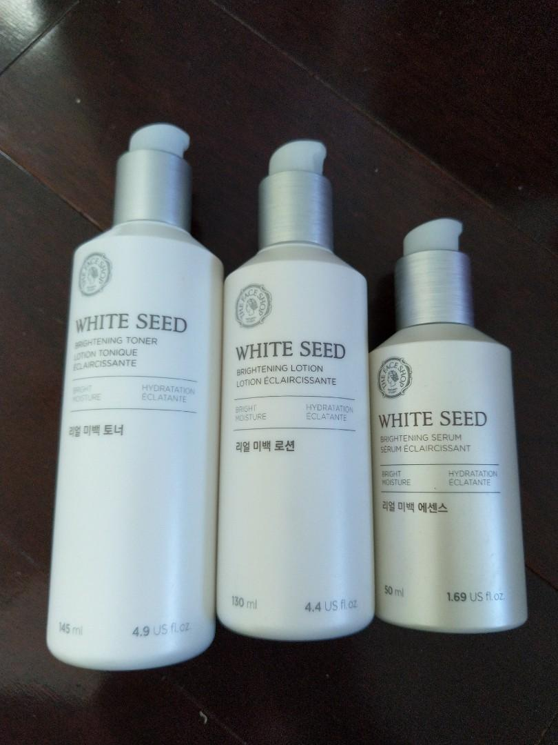 The Face Shop White Seed Brightening Toner, Lotion, and Serum (50% left)