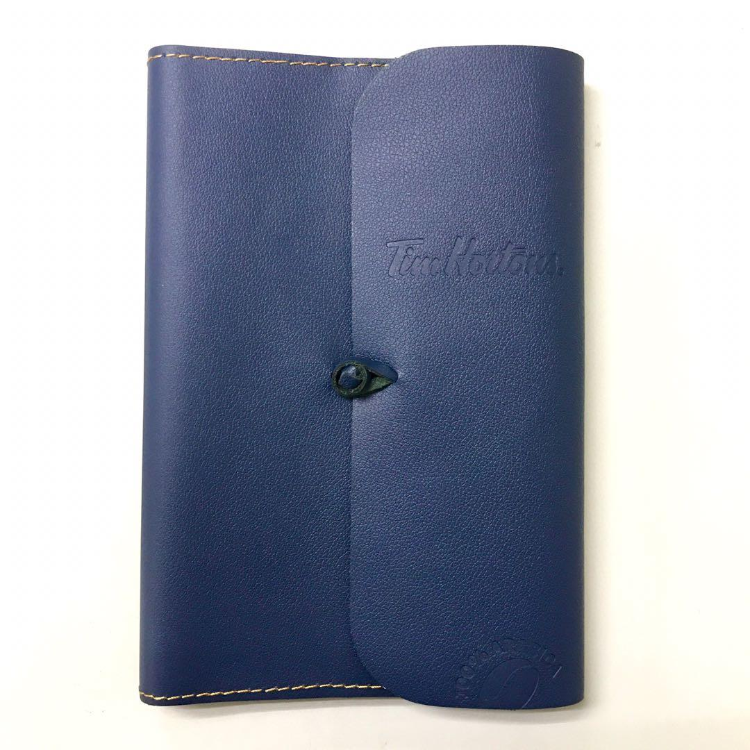 Tim Hortons leather planner bullet journal undated in rich navy sleeve with box