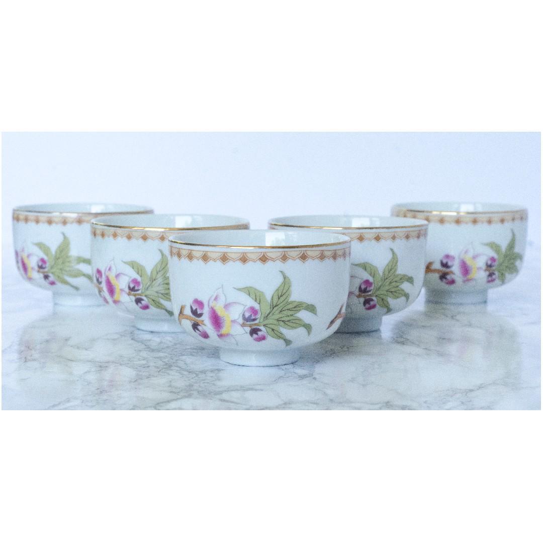 Vintage Japanese Sake Cup, handles teacup. Stamped Japan Set of 5