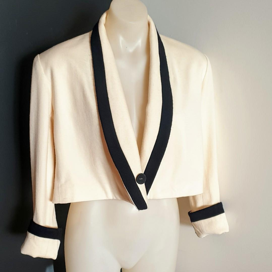 Women's size M 'MAIE' Gorgeous beige with black trim long sleeve cropped jacket blazer