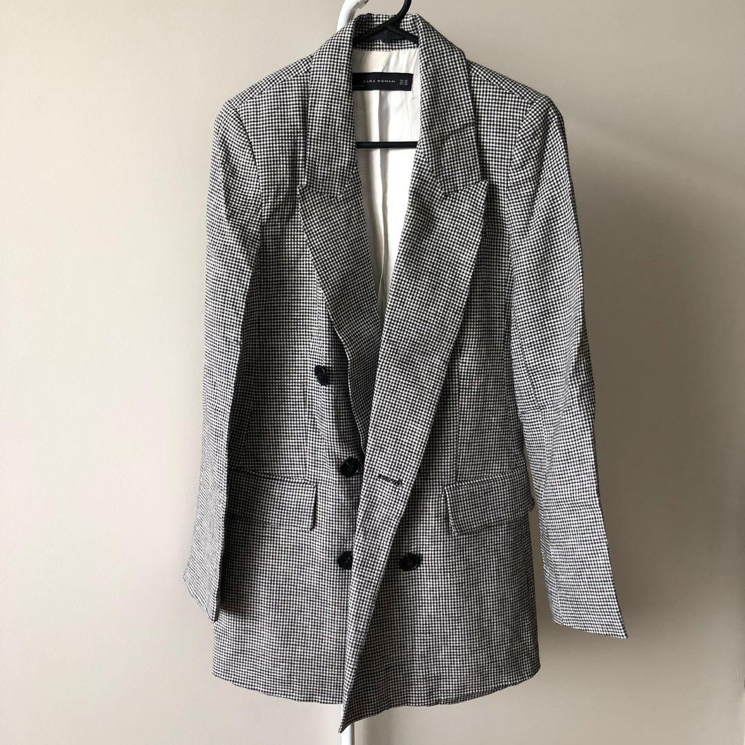 Zara Checked Blazer Jacket With Shoulder Pads (Aus Size 6)