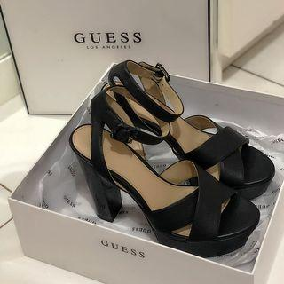 Like New Authentic Guess Heels / black leather ankle strap platform open toe 37