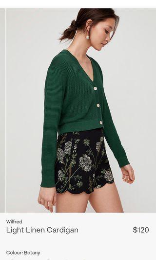 Aritzia Wilfred Light Linen Cardigan Size Small