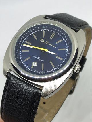 ⌚️NEW - Men's Blue Dial Black Leather Strap Watch ⬅️只限順豐,運費到付