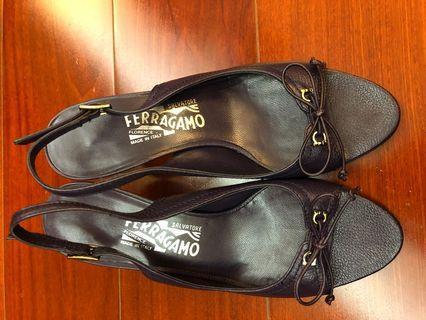 "Ferragamo 真皮高根涼鞋 Leather Slingback Sandals (1.5"")"