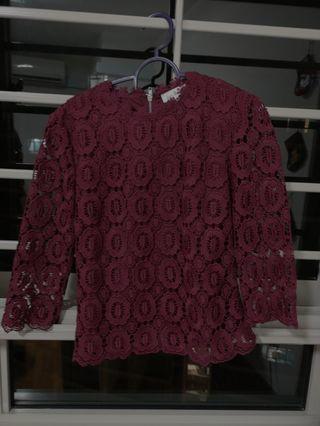 🚚 Love Bonito Lace Crochet Maroon Wine Burgundy Top