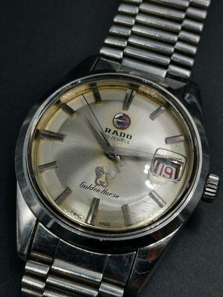 古董 Rado Golden Horse 全鋼自動上弦日曆手錶