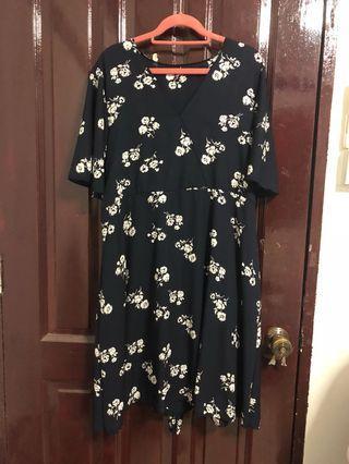 BN Navy Floral Dress UK18 UK20