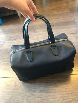 Valextra Navy Boston Bag