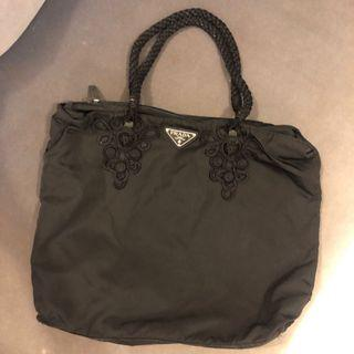 Prada nylon black handbag bag
