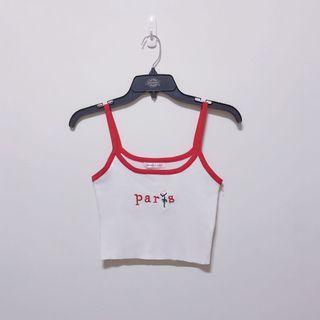 全新🌸性感字母玫瑰刺繡拼色顯白顯瘦針織細肩小背心