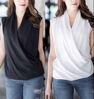 Best Seller Silk Satin Wrap Top Blouse / black , white / atasan wanita
