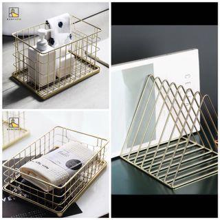 出清全新✨化妝品金屬鐵藝收納籃 高款+矮款各一+金屬三角書架