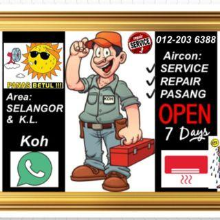 aircond service and repair pasang