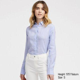 Uniqlo premium women's blue cotton linen blouse