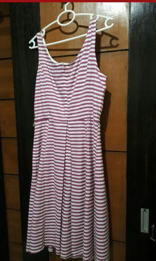 Brand New: JNY pink stripe dress. Very Nice cut and style. Round neck.and back.