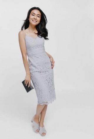 LB Dafena lace midi dress in lilac