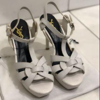 Preloved YSL Tribute Heels matte White / putih 37 Premium quality shoes