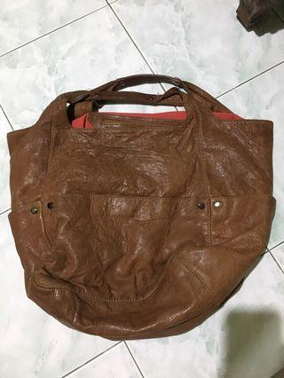 Brown Tote with Red Lining