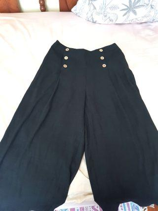 Black High Waisted Culottes