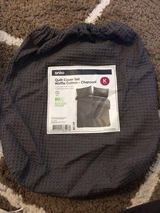 King size quilt cover set charcoal