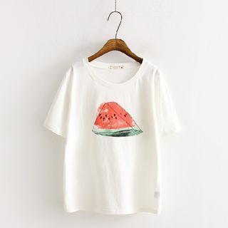 日系小清新西瓜印花短袖t恤