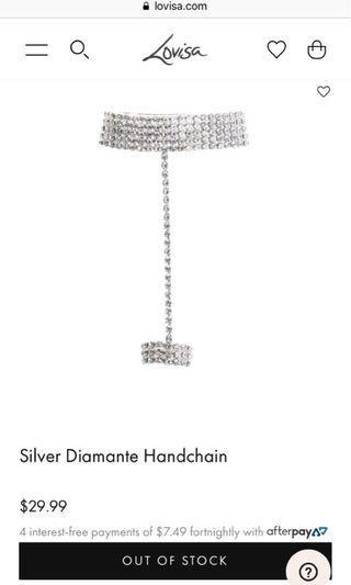 Silver Diamante Handchain