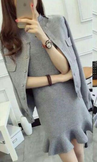 OL Dress + Cardigan In Grey