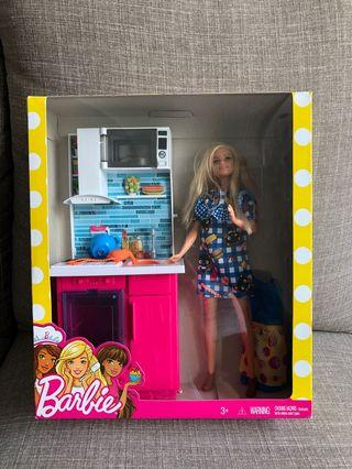 Barbie Doll with kitchen toy set