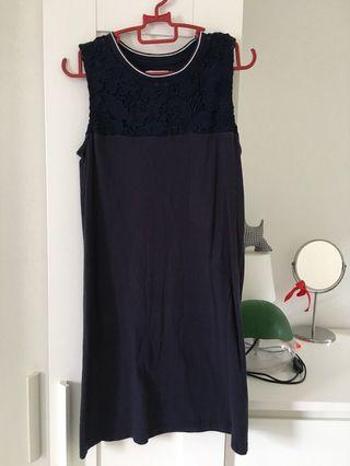 Navy blue A line cotton dress