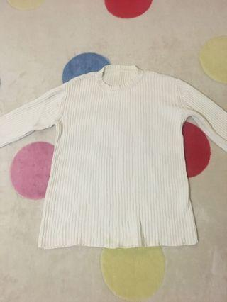 White cotton knitted sweater