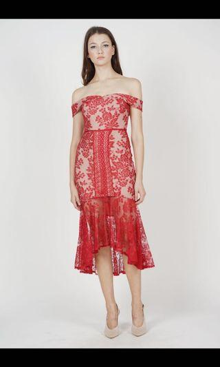 🚚 Mds Amie lace dress in red