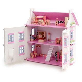 Wooden doll house playset for girl (285)