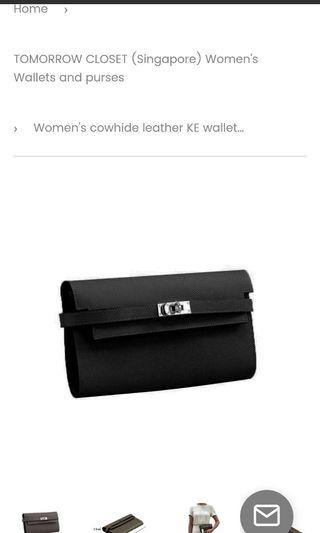 Genuine leather turn lock wallet